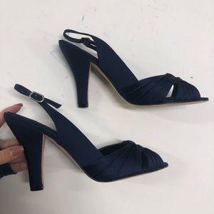 Navy satin Carly heels by Nina